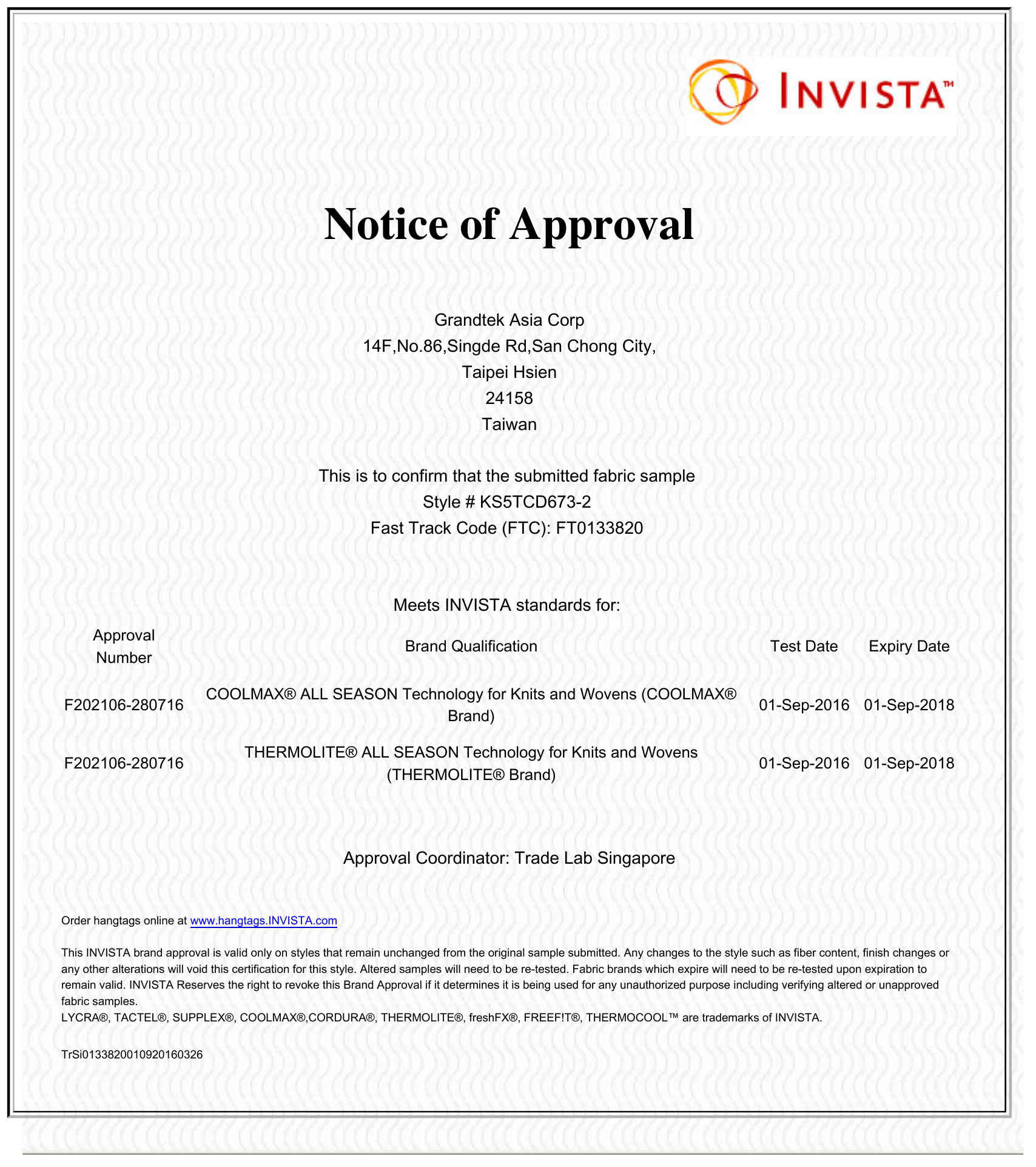 Notice of Approval by INVISTA